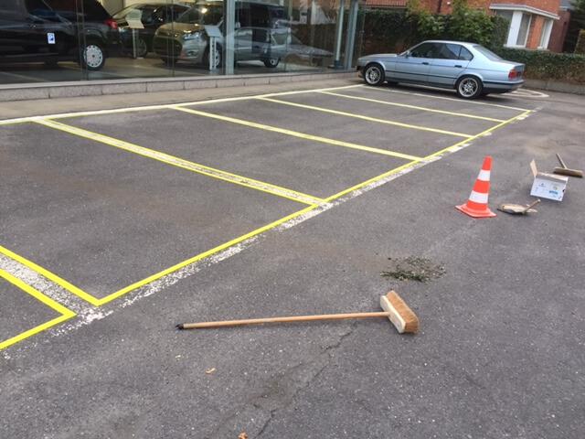Schilderen van parkeer indeling